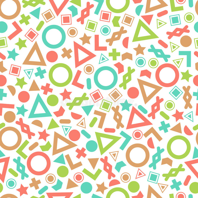 Seamless primitive geometric patterns for tissue and postcards. stock illustration