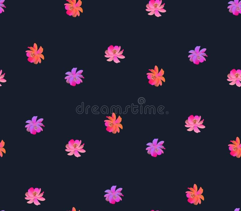 Seamless print for fabric with bright cosmos flowers in watercolor style isolated on dark background. Romantic floral pattern royalty free illustration