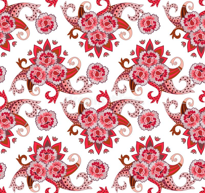 Seamless print for fabric in folk style. Stylized roses, tulips and paisley on white background. Indian, turkish motives. Vector. Illustration royalty free illustration