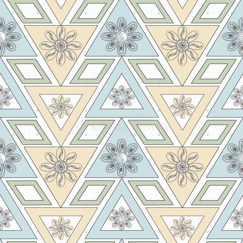 seamless prydnad Stilfull geometrisk sömlös modell med blommor som upprepar textur vektor illustrationer
