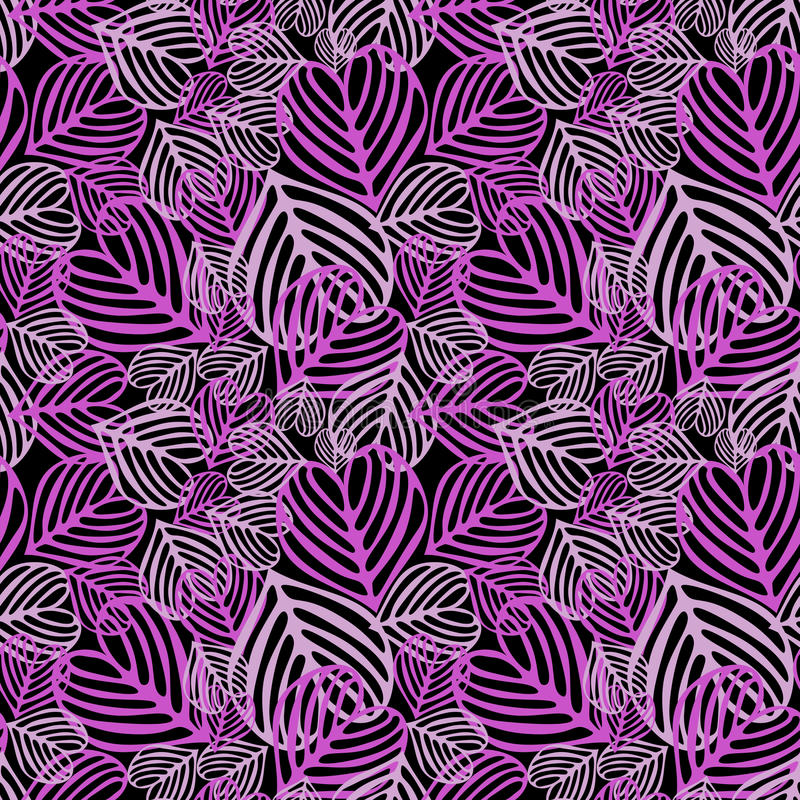 Seamless Purple fallen foliage. Purple fallen foliage on black background. Seamless tile vector illustration