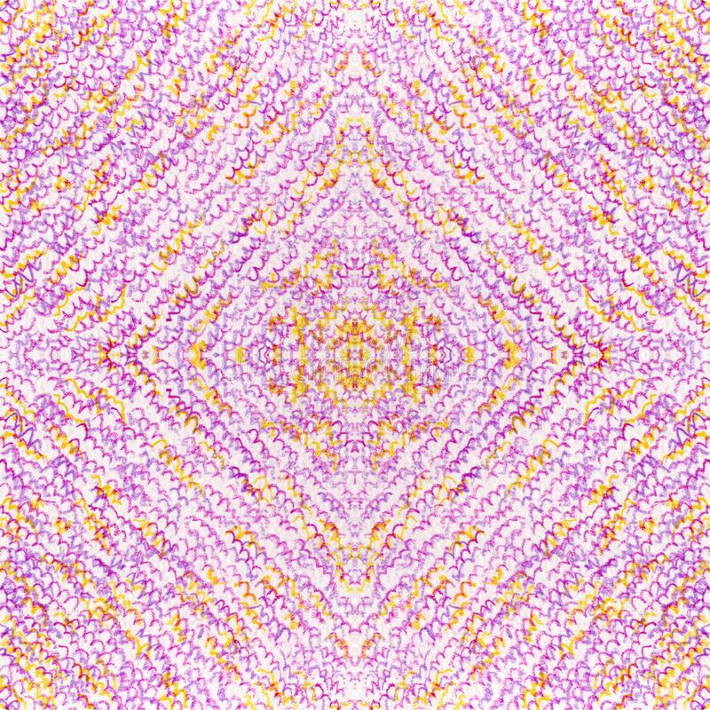 Seamless purple-orange texture. Wavy strokes with color pencil. Drawing by hand. Abstract background for web page, wallpaper, pattern fabric, surface stock illustration