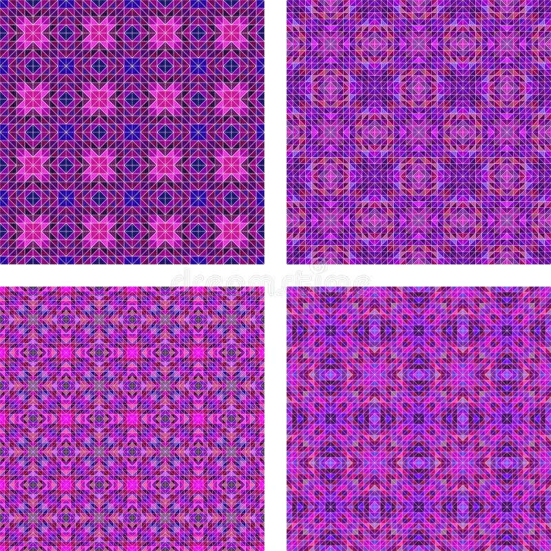 Seamless purple triangle mosaic background set stock illustration