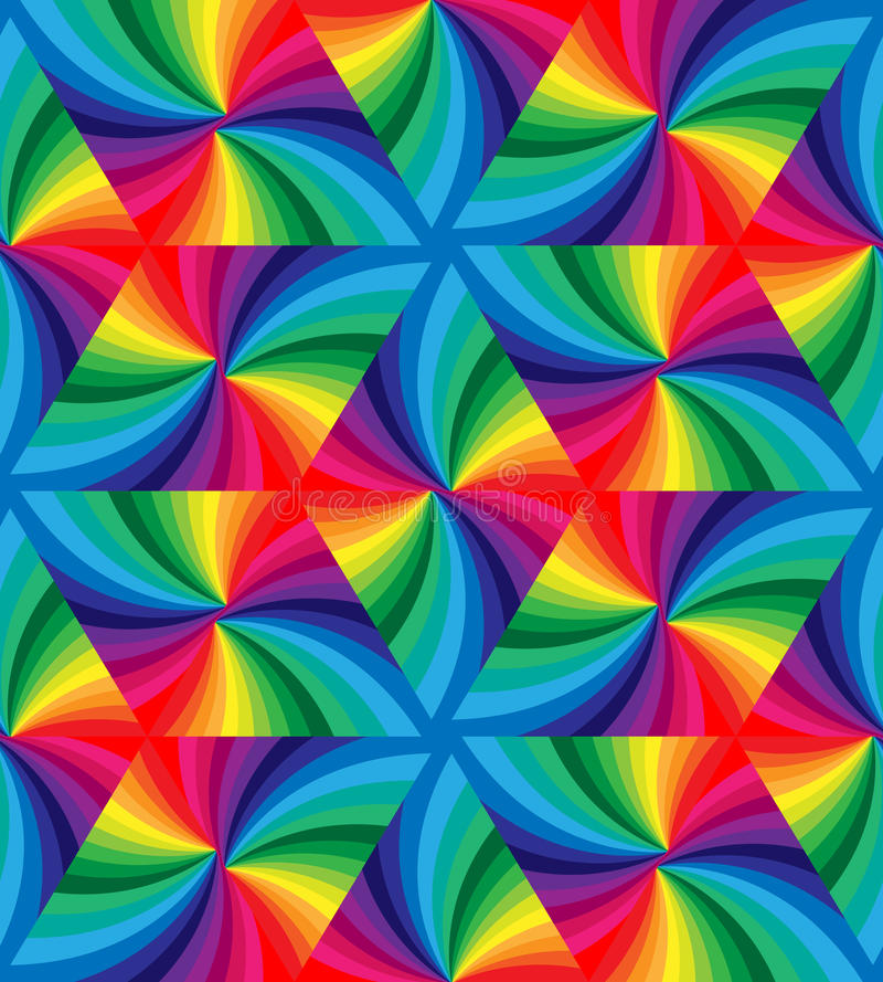 Seamless Rainbow Colored Wavy Triangles Pattern. Geometric Abstract Background. vector illustration
