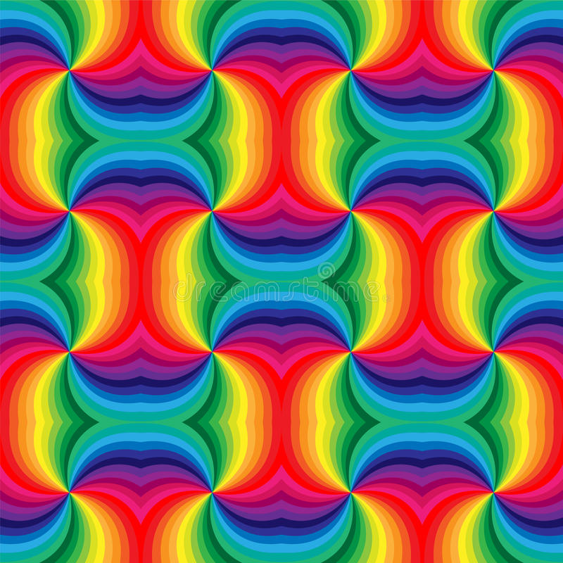 Seamless Rainbow Spirals Pattern. Geometric Abstract Background. Suitable for textile, fabric and packaging. Vector Illustration. Seamless Rainbow Spirals royalty free illustration
