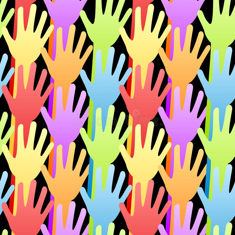 Seamless Rainbow Volunteering Hands Background vector illustration