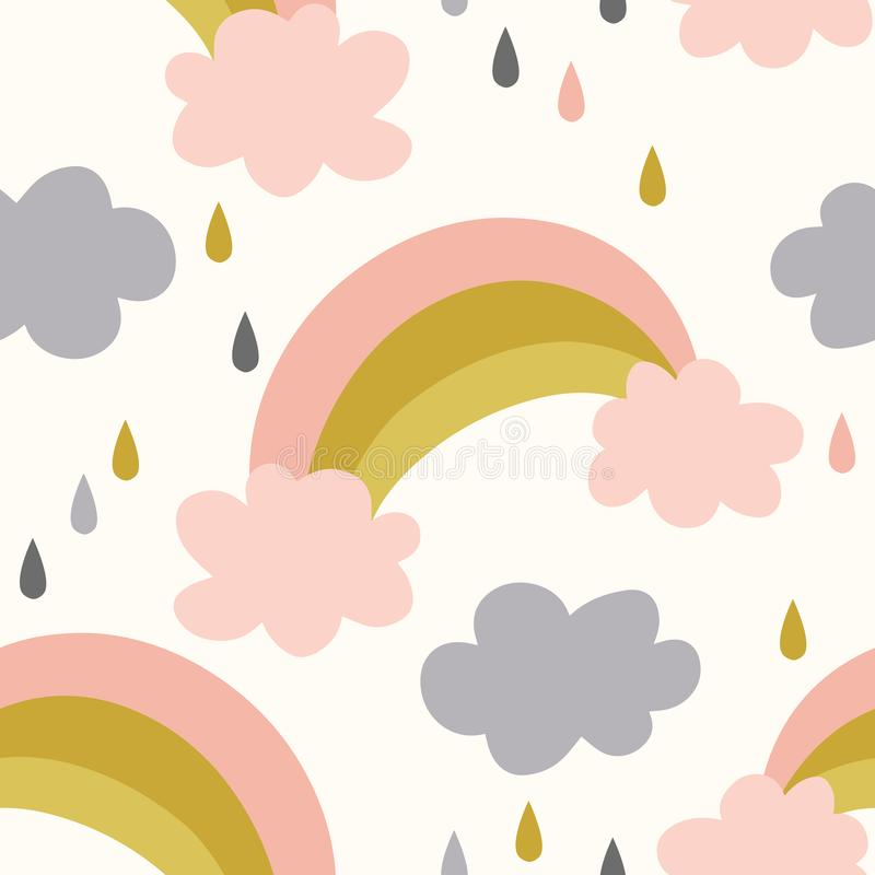 Seamless rainbows and clouds pattern vector background. stock illustration