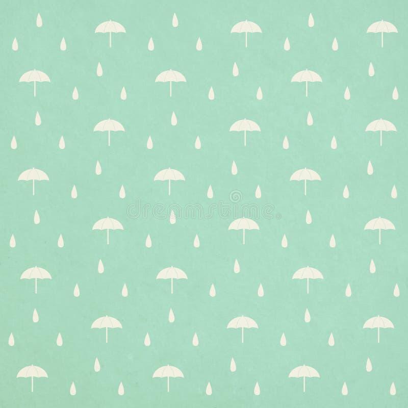 Seamless raindrops mönstrar med paraplyet royaltyfri illustrationer