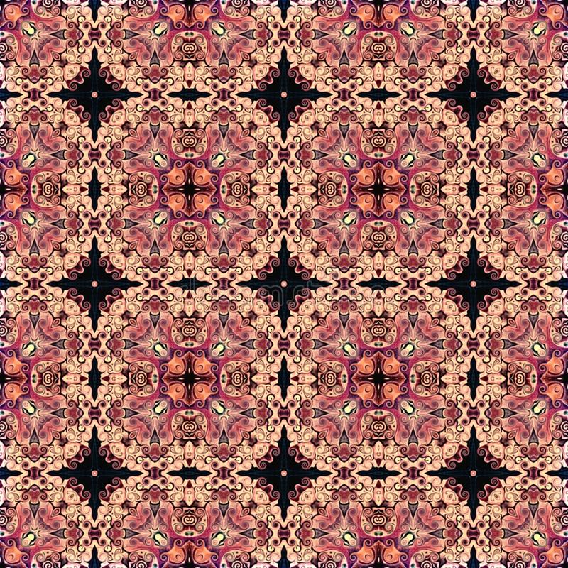 Seamless raster pattern in oriental style Flower psychedelic mosaic Pattern for wallpaper, backgrounds, decor for tapestries. Psyc. Hedelic symmetrically vector illustration