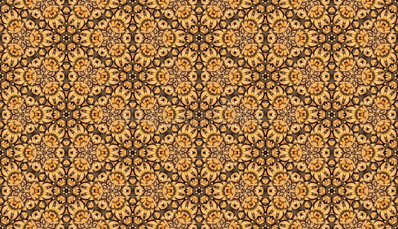 Seamless raster pattern in oriental style Flower psychedelic mosaic Pattern for wallpaper, backgrounds, decor for tapestries,. Carpet royalty free illustration