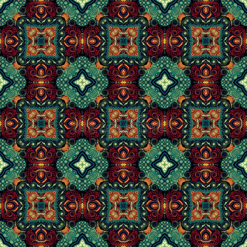 Seamless raster pattern in oriental style Flower psychedelic mosaic Pattern for wallpaper, backgrounds, decor for tapestries,. Carpet stock illustration