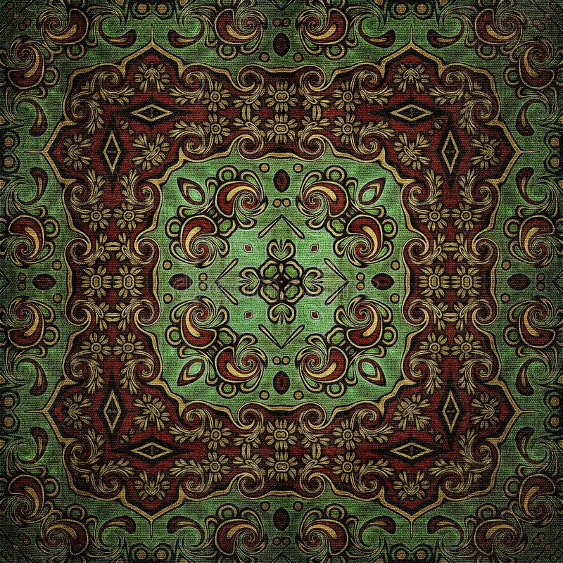 Seamless raster pattern in oriental style Flower psychedelic mosaic Pattern for wallpaper, backgrounds, decor for tapestries, carp stock images