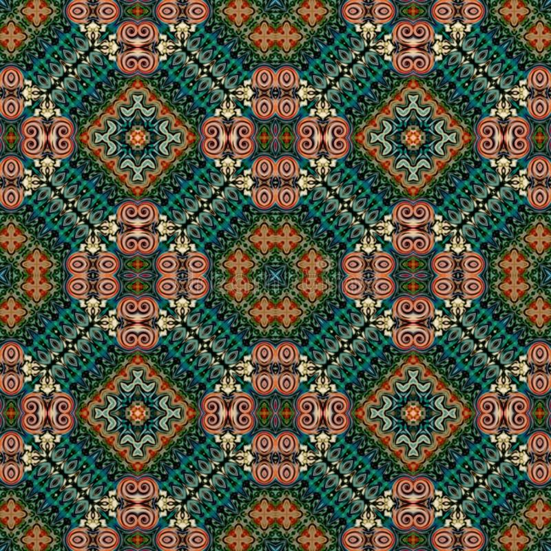 Seamless raster pattern in oriental style Flower psychedelic mosaic Pattern for wallpaper, backgrounds, decor for tapestries,. Carpet vector illustration