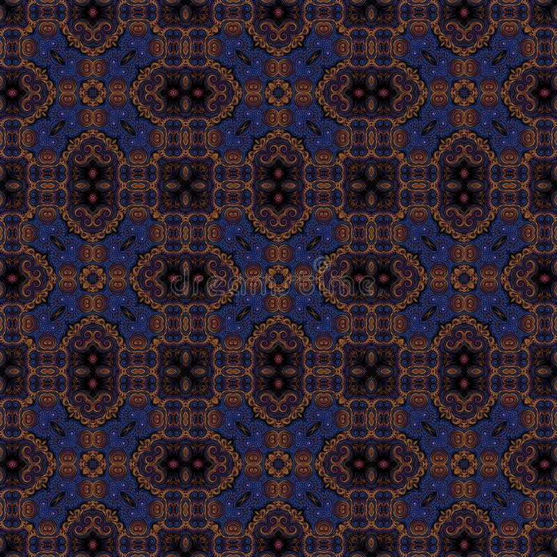 Seamless raster pattern in oriental style Flower psychedelic mosaic Pattern for wallpaper, backgrounds, decor for tapestries. Psyc. Hedelic symmetrically stock illustration
