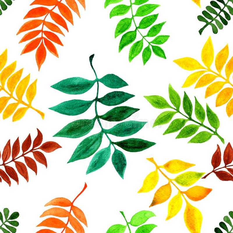 Seamless raster pattern with watercolor autumn leaves. For your fabric design, wrapping paper, web design. Etc stock illustration