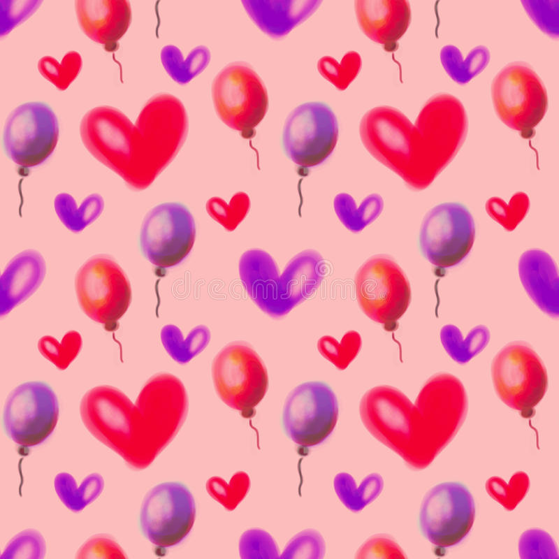 Seamless raster pattern. Watercolor background with hand drawn air ballons and hearts. Series of Watercolor Seamless Patterns, Backgrounds stock photos