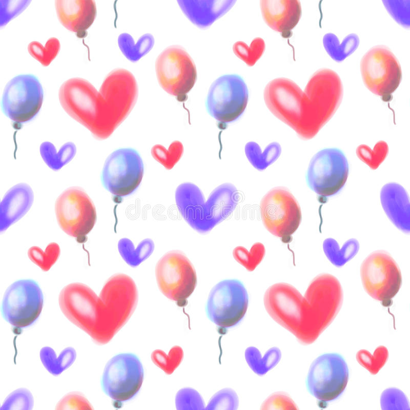 Seamless raster pattern. Watercolor background with hand drawn air balloons and hearts. Seamless raster pattern. Watercolor background with hand drawn air stock photo