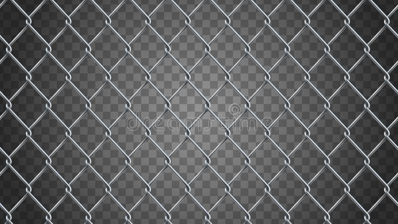 Seamless realistic chain link fence background. Vector mesh is vector illustration