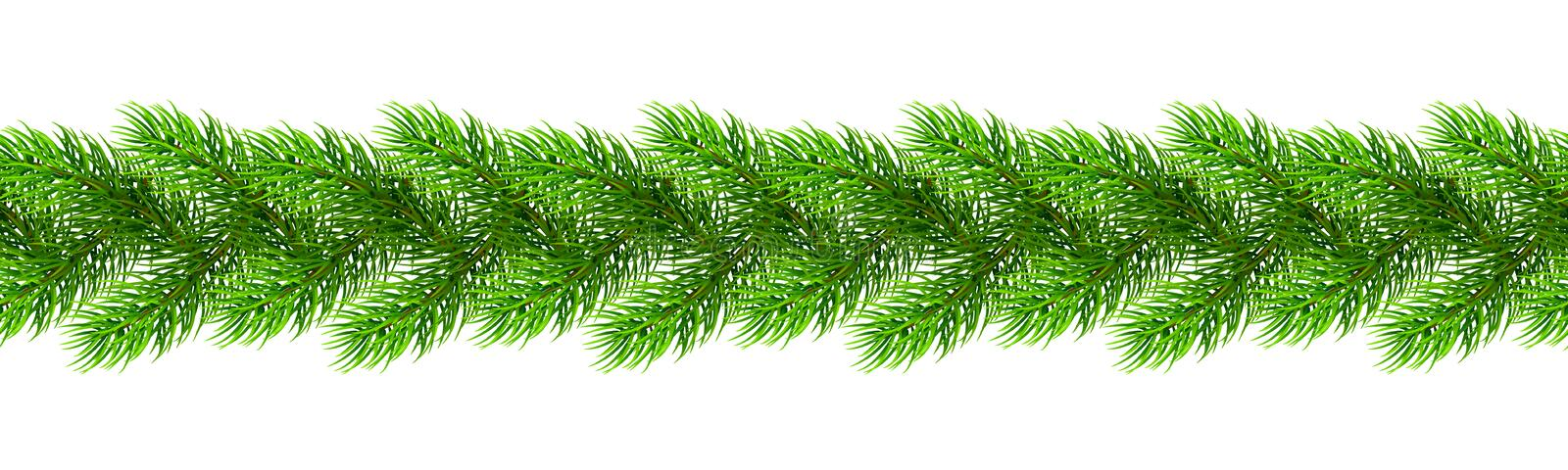 Seamless realistic Christmas borders from fir tree branches. Template for a banner, poster, invitation. Vector illustration for your design vector illustration