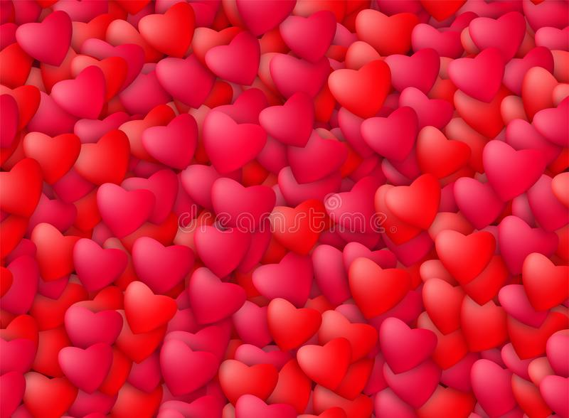 Seamless realistic hearts background. Love, passion and Valentine Day concept. Romantic banner design. Vector illustration royalty free illustration