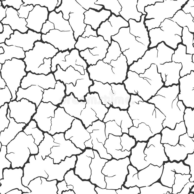 Seamless realistic pattern. Imitation print of dry soil of desert. Black crack on white background. vector illustration