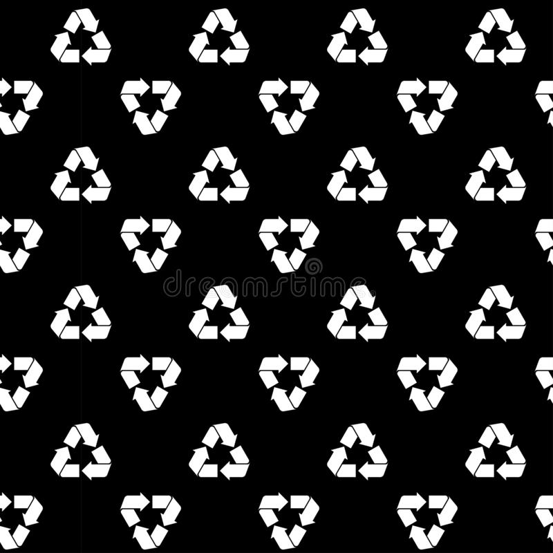 Seamless recycling pattern black. Seamless pattern with white recyclable material sign isolated on black. Abstract recycling, waste processing texture for print vector illustration