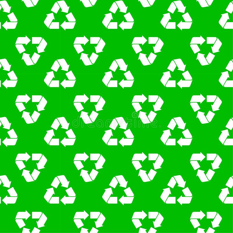 Seamless recycling pattern green. Seamless pattern with recyclable material sign isolated on green. Abstract recycling, ecology texture for print, paper, design royalty free illustration