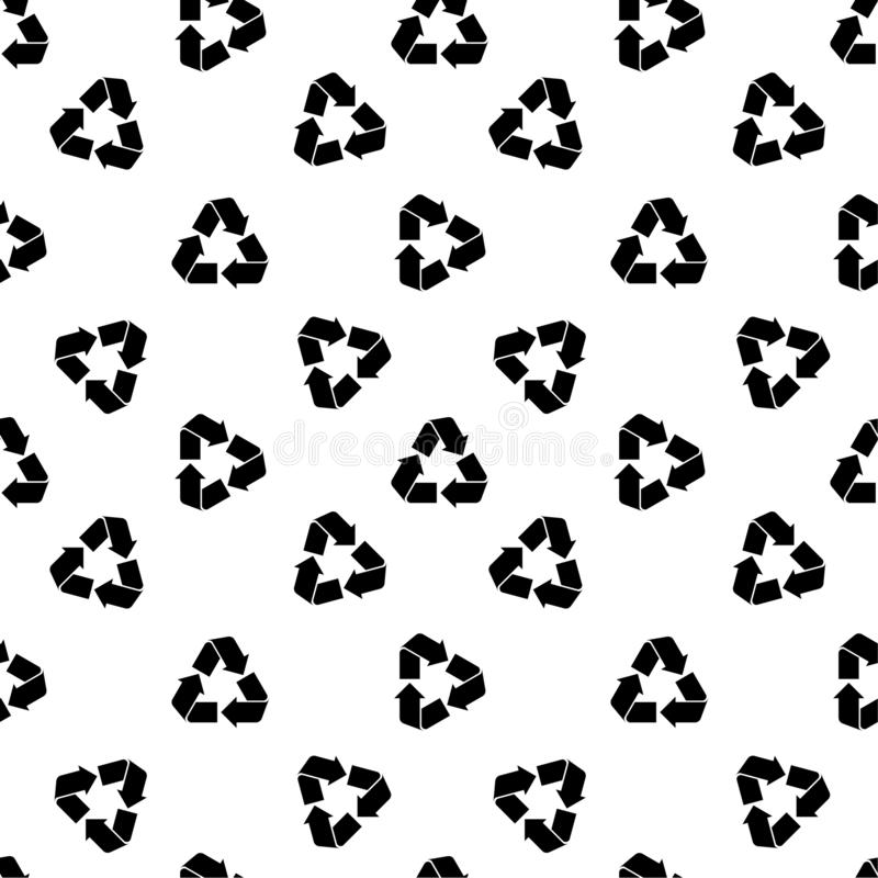 Seamless recycling pattern white. Seamless eco pattern with black recyclable material sign isolated on white. Abstract recycling, waste processing texture for stock illustration