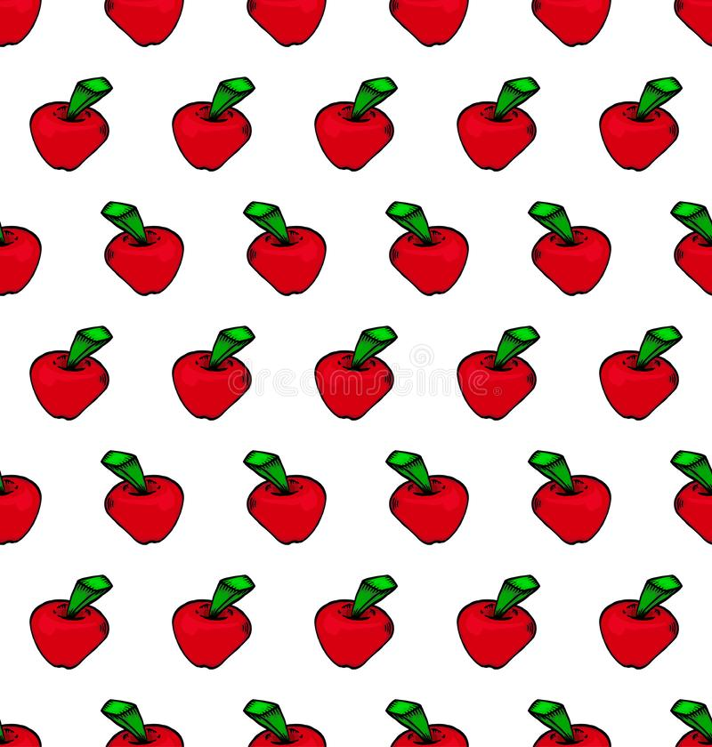 Seamless Red apple pattern vector illustration