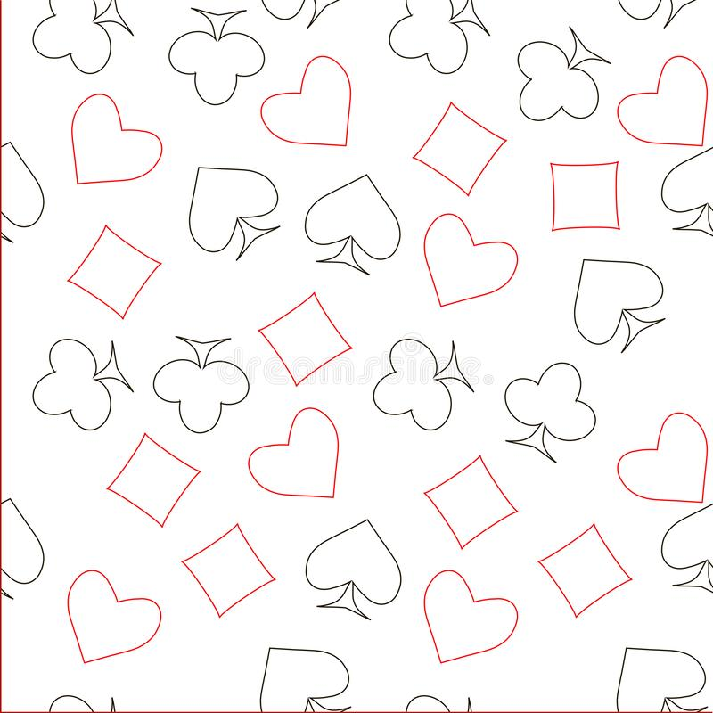 Seamless red and black outline spades hearts, diamonds, clubs, poker, cards symbols on white pattern vector illustration