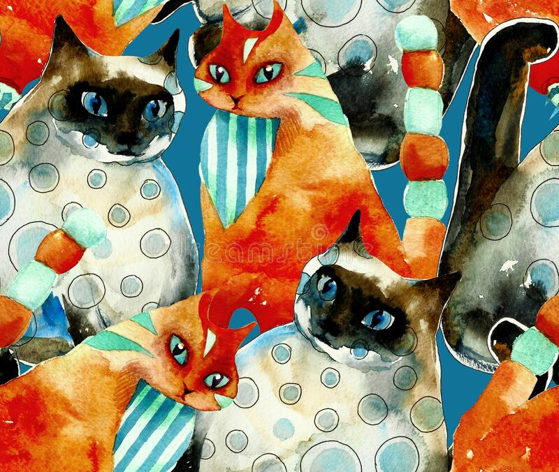 Seamless red and blue cats pattern from original watercolor hand drawn illustration on blue background stock illustration