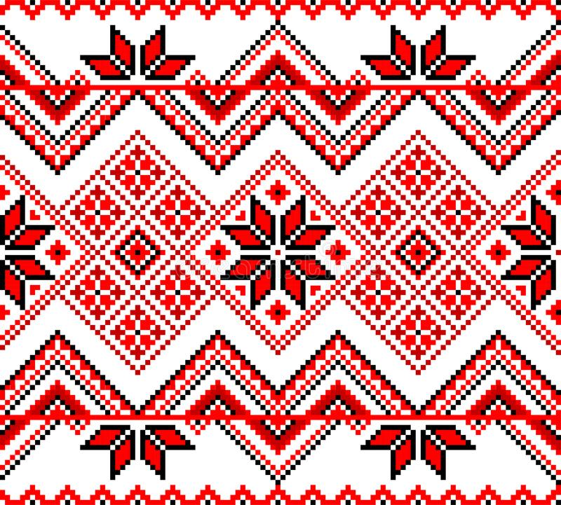 Seamless red ethnic ukrainian ornament. Traditional Ukrainian decorative red seamless ornament on a white background. Vector illustration royalty free illustration