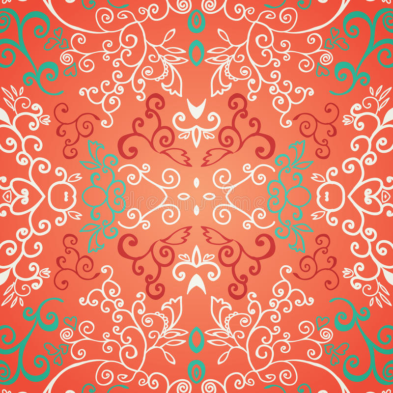 Seamless red floral pattern. For your web design, texture stock illustration