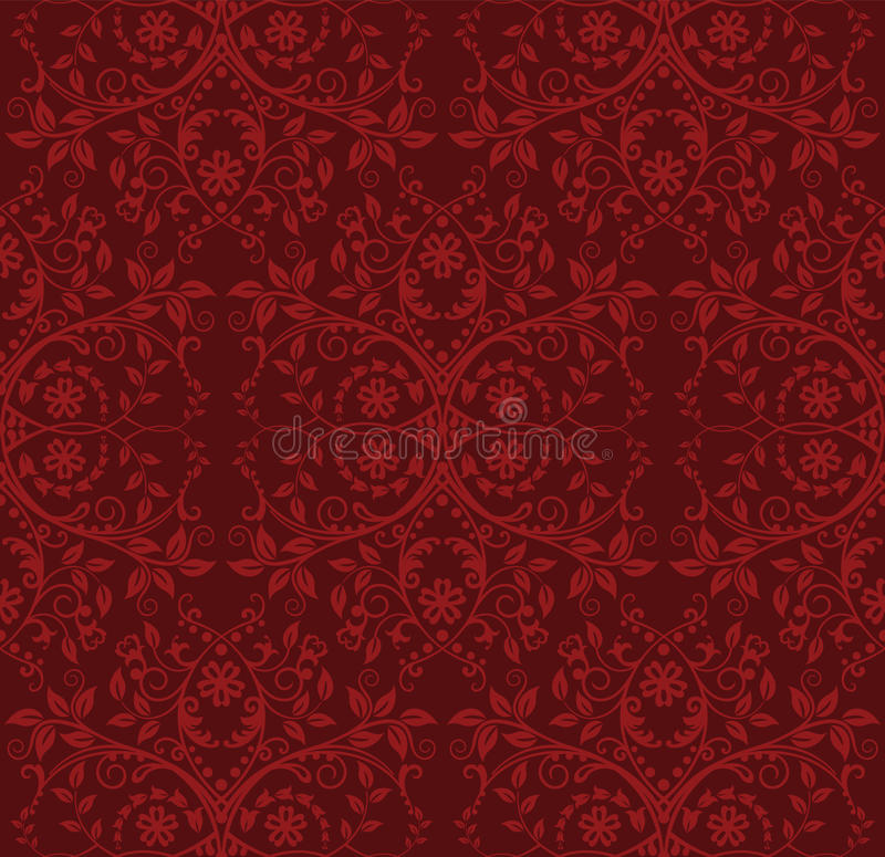 Seamless red floral wallpaper vector illustration