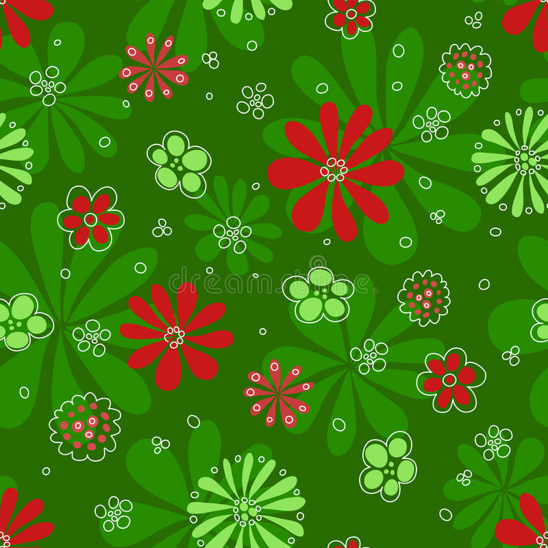 Download Seamless Red Flowerson Green Pattern. Royalty Free Stock Images - Image: 18536639