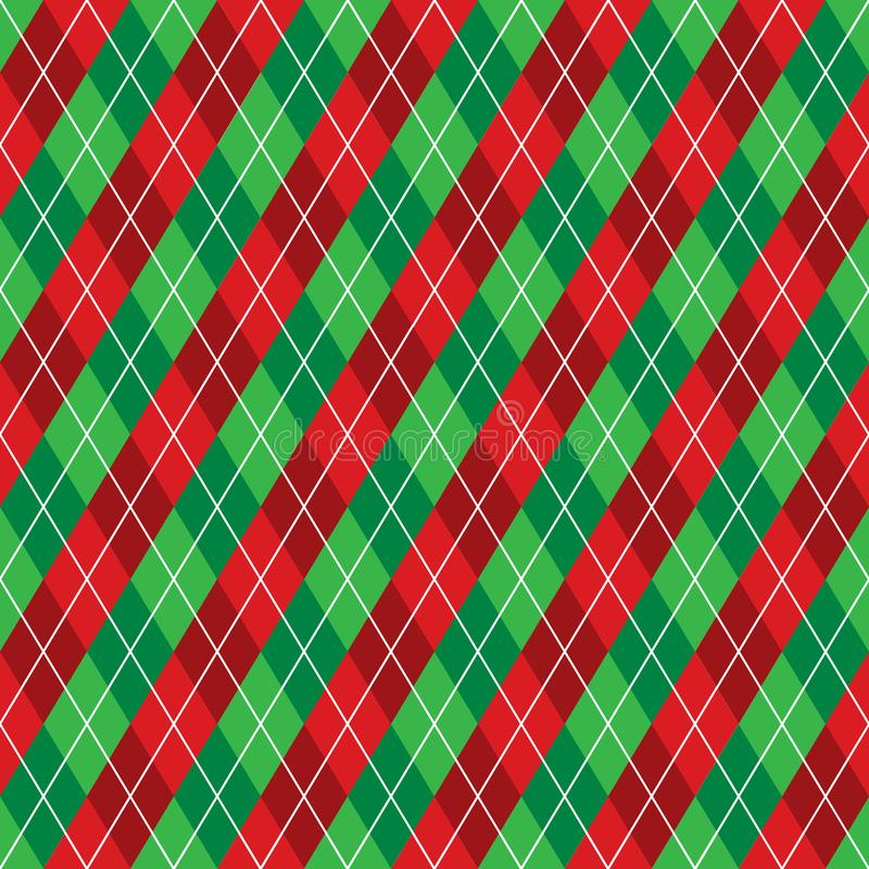 Seamless red and green argyle Christmas wrapping paper pattern. stock illustration