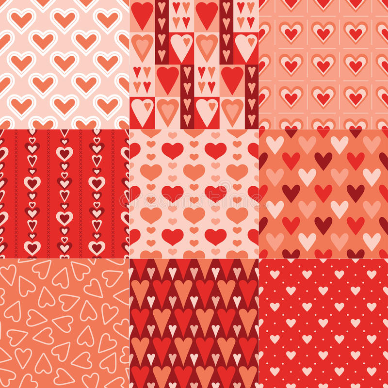 Seamless red heart pattern stock illustration