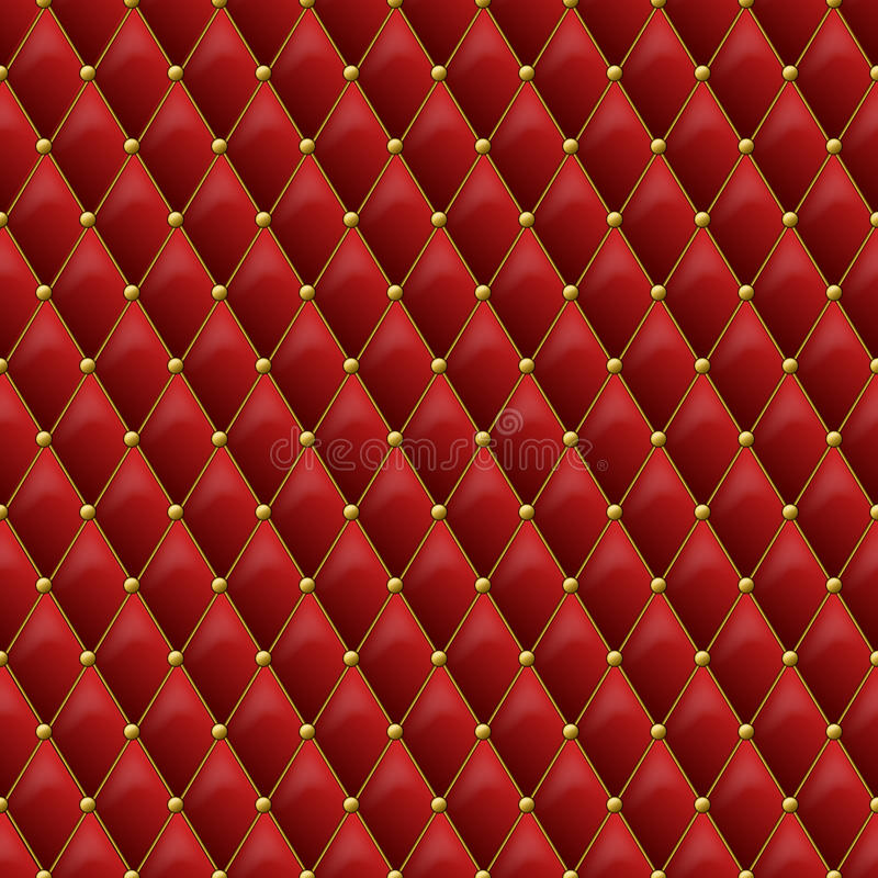 Seamless red leather texture with gold metal details. Vector lea. Ther background with golden buttons. Luxury textile design, interior and furniture decoration vector illustration
