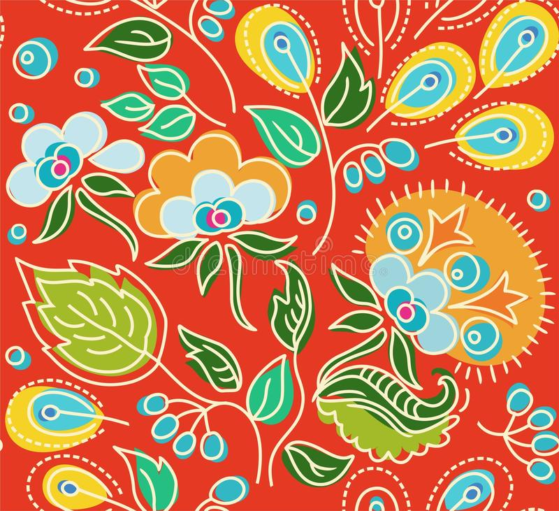 Seamless red pattern of flowers, green leaves, yellow seeds. royalty free illustration