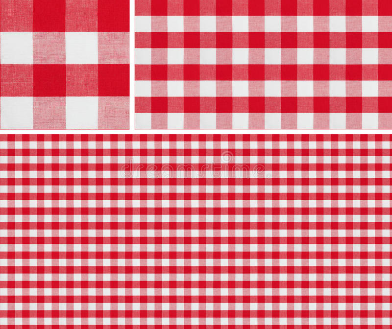 Seamless red picnic tablecloth checked pattern and result samples. Seamless picnic pattern 1500x1500 with samples. Good for red checkered tablecloth creation of royalty free stock photography