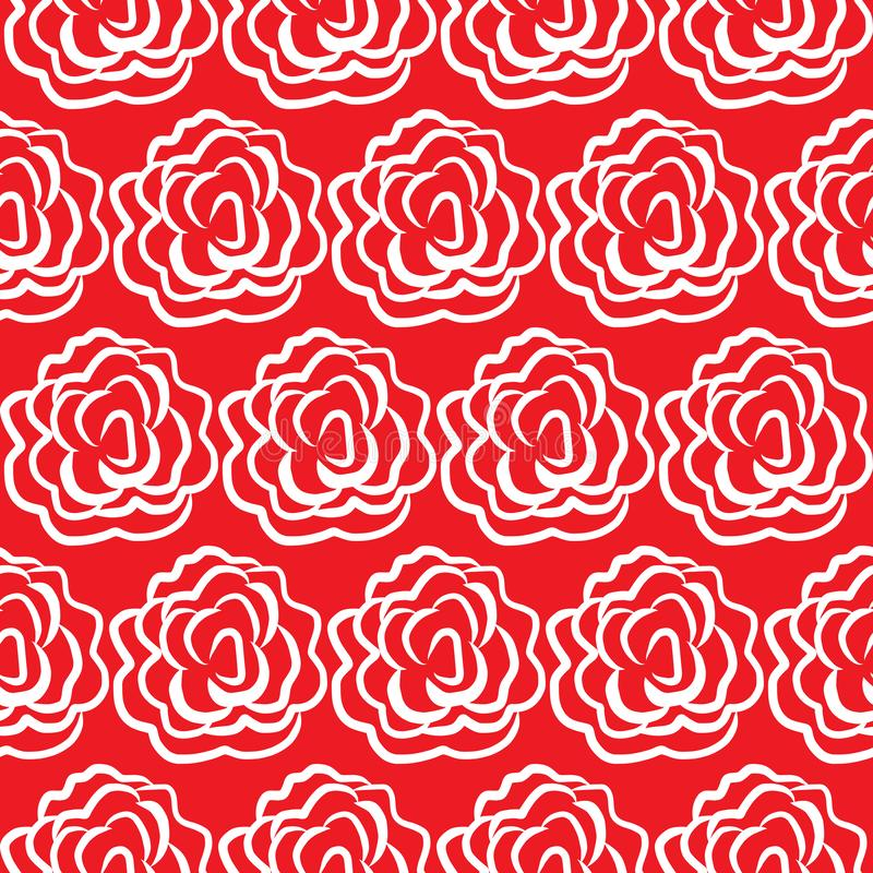Seamless red rose pattern background. Vector illustration royalty free illustration