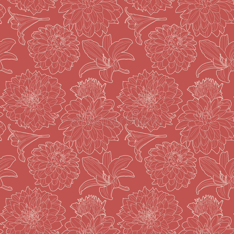 Seamless red vintage floral pattern with lily and aster vector illustration