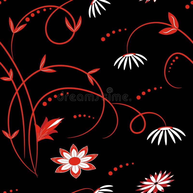 Seamless red and white floral pattern on black background vector illustration