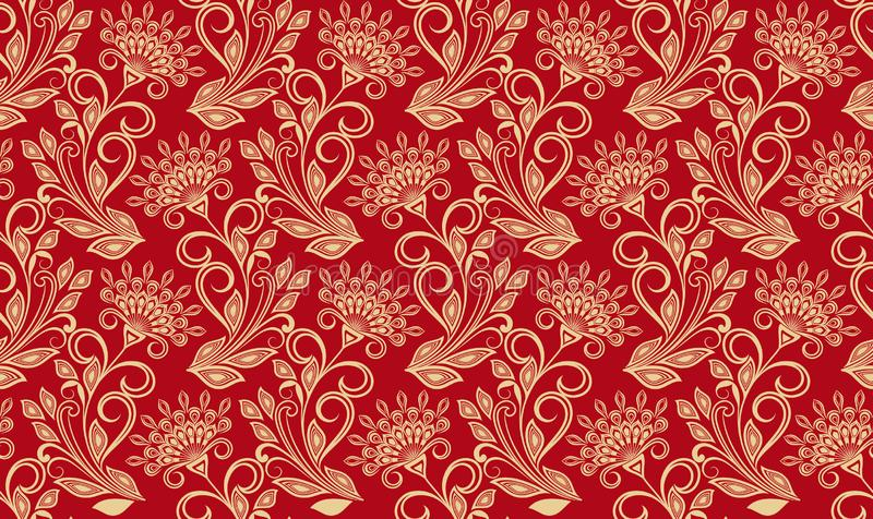 Seamless red and yellow floral wallpaper. Pattern. Vector Illustration stock illustration