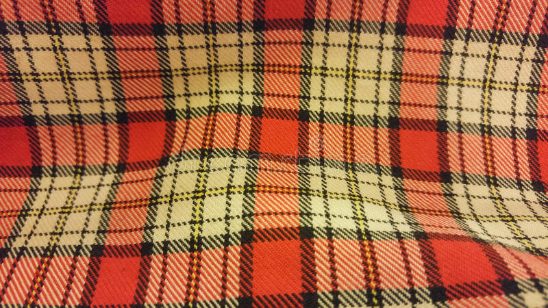 Seamless Red Yellow Tartan Pattern Fabric Texture Background stock images