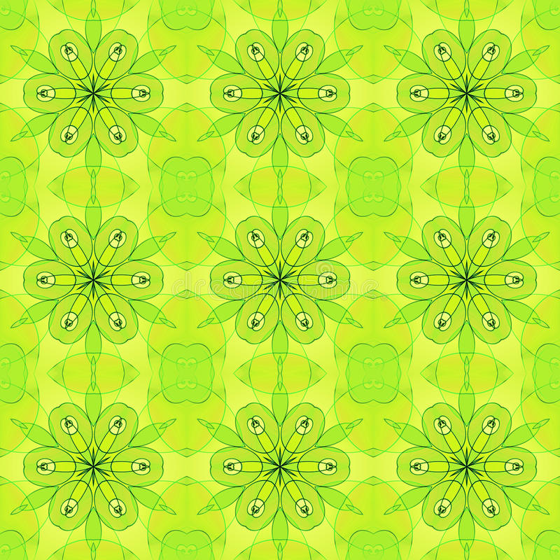 Seamless regular floral pattern lime green. Abstract geometric seamless background. Regular floral ornaments in yellow and lime green shades with black and green stock illustration