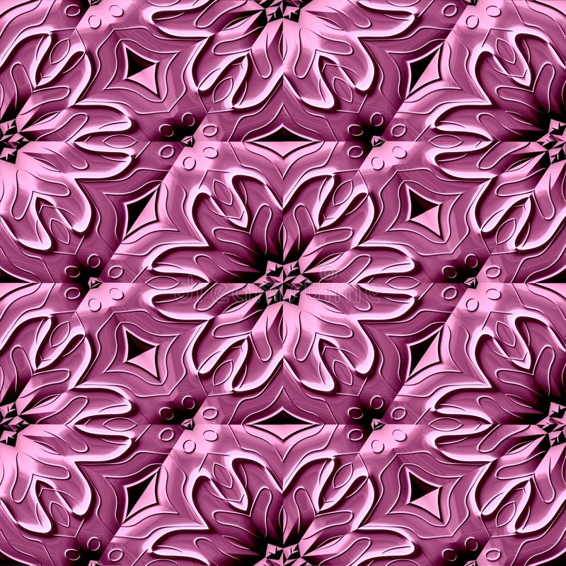Seamless relief ornamental pattern in pink spectrum royalty free illustration