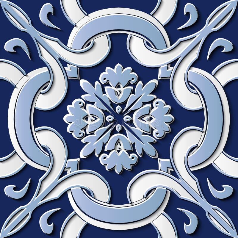 Seamless relief sculpture decoration retro pattern blue spiral c vector illustration