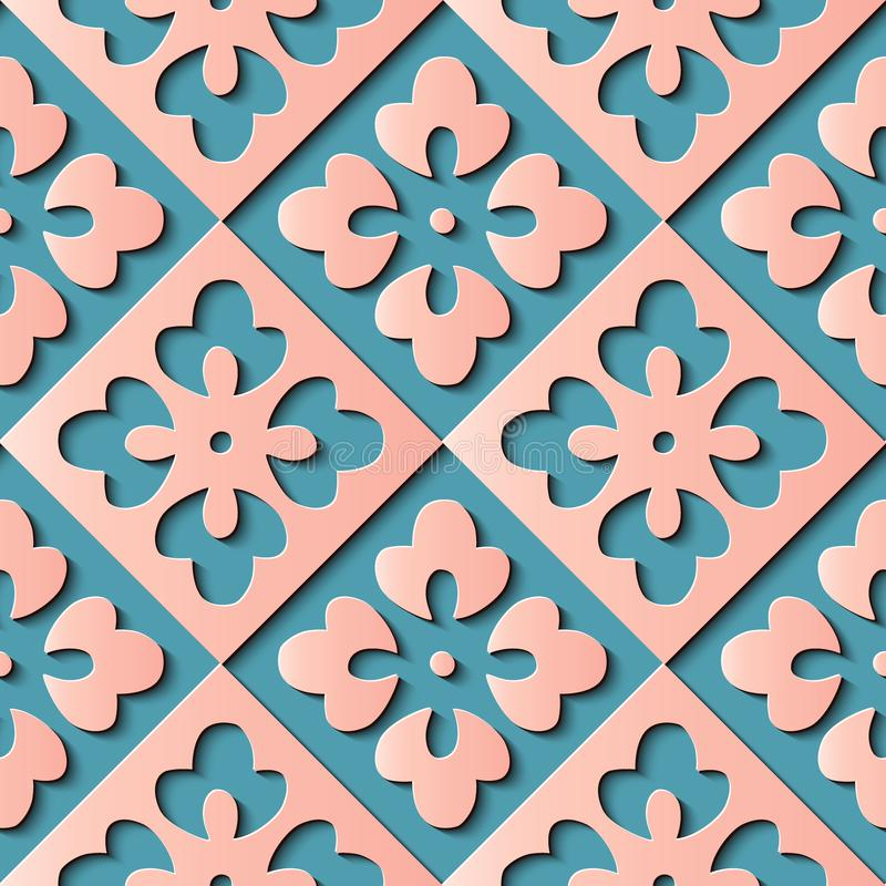 Seamless relief sculpture decoration retro pattern check geometry cross pink flower kaleidoscope. Ideal for greeting card or backdrop template design stock illustration