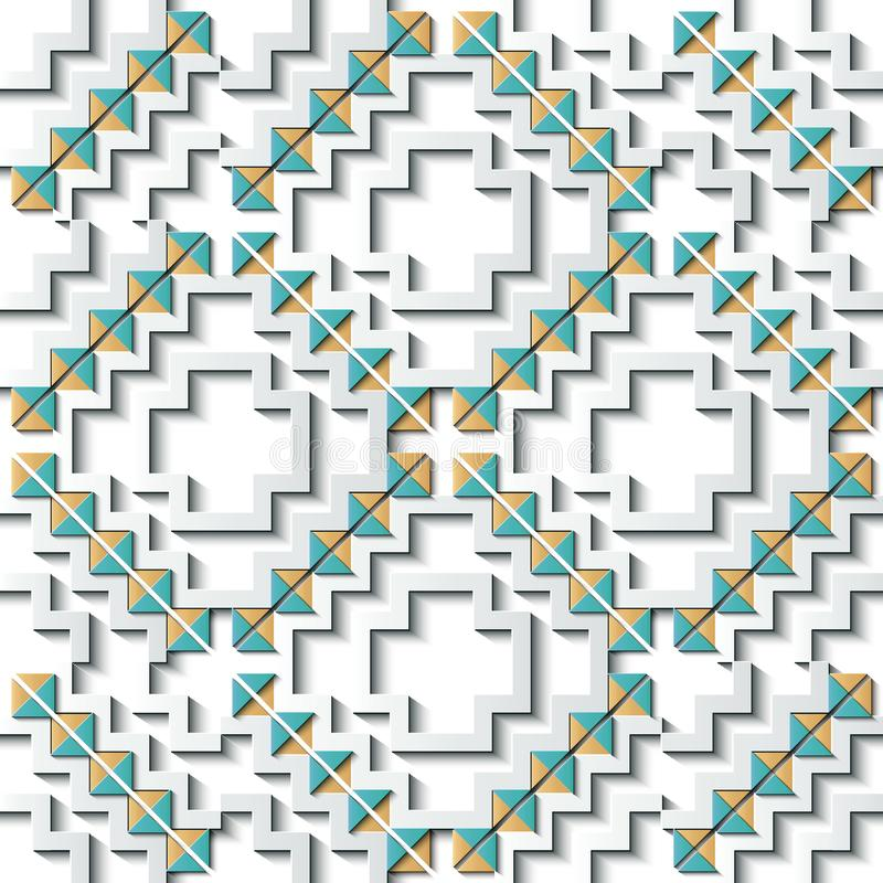 Seamless relief sculpture decoration retro pattern check sawtooth geometry cross triangle frame line kaleidoscope. Ideal for greeting card or backdrop template vector illustration